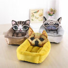 3D Cute Dog Cat Pet Comfy Cotton-Padded Cushion Basket Snuggly Sleeper