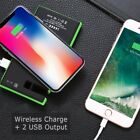 US 20000mAh Wireless Qi Solar Power Bank 2 USB Battery Charger with Phone Holder