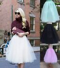 Womens 5 Layers Tulle Tutu A line Skirt Knee Length Prom Princess Ballet Dress