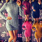 Women Turtleneck Knitted Mini Dress Long Sleeve Sweater Jumper Fashion Tops New