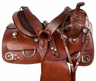Western Saddles Horse Trail Riding Training Hand Tooled Leather Tack 15 17 18