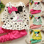 2pcs Toddler Kids Baby Girls Minnie Mouse Outfits Clothes Set T shirt Tops Pants