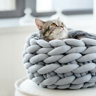 Puppy Pet Cat Dog Cozy Soft Nest Bed Knitted Woven Cat Cave House Sleeping Mat