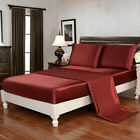 4 Piece Bed Sheet Set Satin Silky Deep Pocket Queen Full King Free Straps, Red image