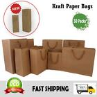 kraft paper bags 50 x bulk gift shopping carry craft brown bag with handles