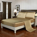 4 Piece Bed Sheet Set Satin Silky Deep Pocket Queen Full King Free Straps, Gold image