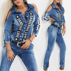 BY Alina Damen Overall Einteiler Catsuit Sexy Jumpsuit Jeansoverall 34-38 #C539