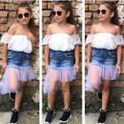 Toddler Kids Baby Girl Lace Off Shoulder Tops+Denim Shorts Pants Clothes Set P6