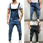 Fashion Mens Ripped Jeans Jumpsuits Street Distressed Denim Trousers Size S-2XL