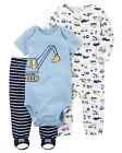 New Carter's Boys 3 Piece Layette Set Sleep n Play Footed Construction NWT NB 3m