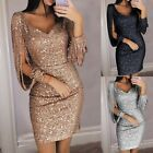 Women Sequined Midi Dress Sexy VNeck Bodycon Club Cocktail Evening Party Dresses