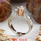Uk New Rose Flower Women Lady Rings Wedding Engagement Zircon Ring Jewelry Gift