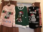 NWT Womens Ugly Christmas Sweater Pink Black Cat Frenchie Boston PICK