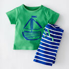 USA Summer Toddler Kids Baby Boys Outfits Tops T-shirt Stripe Shorts Clothes Set
