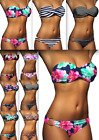 DAMEN BANDEAU PUSH UP BIKINI VIELE FARBEN SET TOP HOSE PUSHUP Gr. XS S M L NEU!