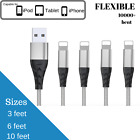 Braided USB Charger Wire 3 / 6 / 10 feet Sync Cord For iPhone 7 Plus X 6 7 8 5