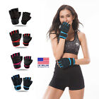 Women Men Gym Gloves With Wrist Wrap Workout Lifting Weight Fitness Exercise