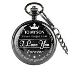 To My Son I Love You Pocket Watch Quartz Watch Full Hunter Necklace Penant Chain image