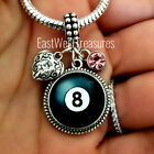 8 ball pool billiard player Charm bracelet necklace jewelry gift Personalized $36.99 USD on eBay