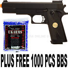 New Double Eagle Full Size Spring Airsoft Gun Pistol With FREE 1000 BB'S Bullets