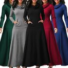 Women's Casual Turtleneck Long Sleeve Plain Pocket Evening Party Long Maxi Dress