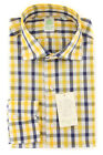 New $375 Finamore Napoli Yellow Plaid Shirt - Extra Slim - (FN81204)