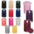 """Woven Plaids Solid Check Casual Mens Boys Wedding Waistcoat Bow Tie Set 22""""-50"""""""