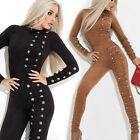 BY Alina Damen Overall Einteiler Catsuit Jumpsuit Wildlederlook 34 - 38 #C737