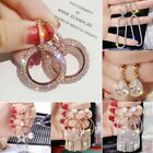 925 Silver Rose Gold Crystal Round Dangle Earrings Stud Women Jewellery Wedding