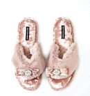 Pretty You London Elegant Women Faux Fur TOE-POST PINK Slippers Jeweled