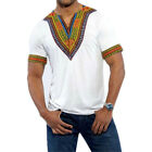 Men's African Printted V-Neck T-Shirt Casual Short Sleeve Loose Fashion Wear