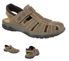 Luxury Italian Leather Mens Touch Fastening Open Strap Sandals, Luxury comfort
