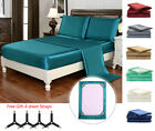 4 Piece Bed Sheet Set Silky Satin California King Soft Luxury Deep Pocket  image