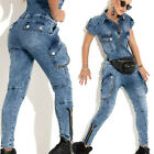 BY Alina Damen Overall Einteiler Catsuit Sexy Jumpsuit Jeansoverall 34-38 #C786