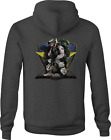 Zip Up Hoodie American Solider Military on Knee with M16 Rifle Camo