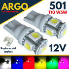 501 Smd Led Xenon White Bulbs Side Light Interior W5w T10 Red Blue Green Pink