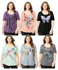 Just My Size Womens Plus-Size Short-Sleeve Scoop-Neck Graphic T-Shirt