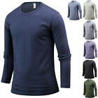 NEW Mens Stylish Slim Fit Crew O Neck Long Sleeve Tee T-shirt Top Blouse B10 S/M