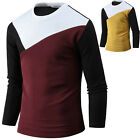 New Mens Stylish Modern Crew Neck Long Sleeve Tee T-shirt Tops Blouse B19 XS/S/M