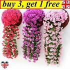 Hanging Wall Artificial Fake Silk Violet Orchid Flowers Rattan Garden Outdoor Sw