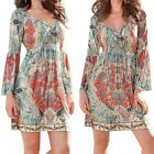 Women Bohemian  Neck Tie Vintage Printed Ethnic Style Summer Shift Short Dress