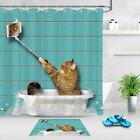 Waterproof Fabric Shower Curtain Set Handsome Cat Takes A Selfie In The Bathroom