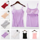 Women Long Layering Strap Basic Tank Cami With Built in Shelf Bra Fashion Tops