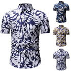 Mens  Short Sleeve Button-Down Shirts Beach Holiday T-Shirt Floral Tops