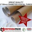 "POSTAL TUBES A4 A3 A2 A1 A0 Size 2"" 50mm wide DIAMETER QUALITY STRONG CARDBOARD"
