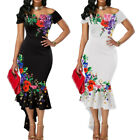 Women Flower Embroidered Off Shoulder Asymmetrical Bodycon Mermaid Dress Sanwood
