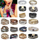 Women Fashion Handmade Wide Leather Charm Beads Rhinestone Wrap Bracelet Jewelry image
