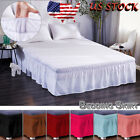 Solid Dust Ruffle Split Bed Skirt Wrap Around Drop Home Twin Full Queen King image