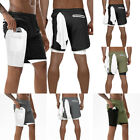 Men's 2 in 1 Running Shorts Quick Drying Sports Legging  Pants With Pockets