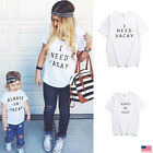 US Summer Casual Top Outfits Mom Kids Simple Family Matching Girls T shirt New